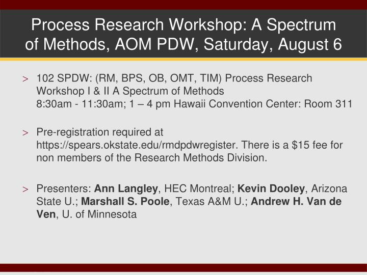 process research workshop a spectrum of methods aom pdw saturday august 6 n.