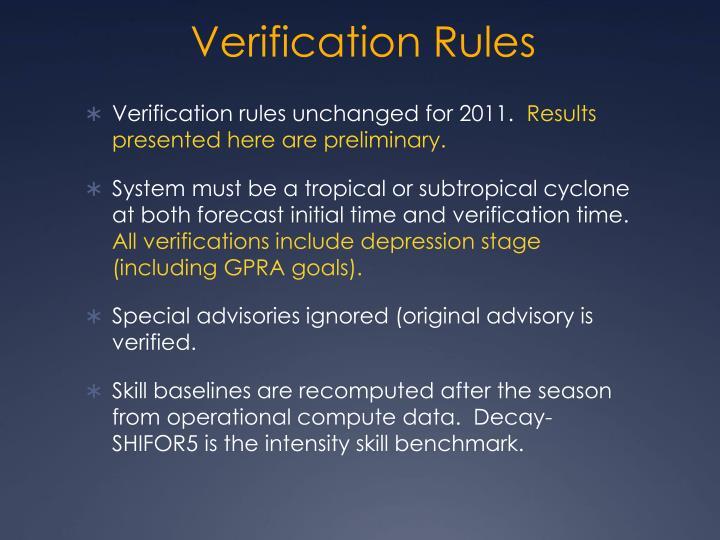 Verification rules