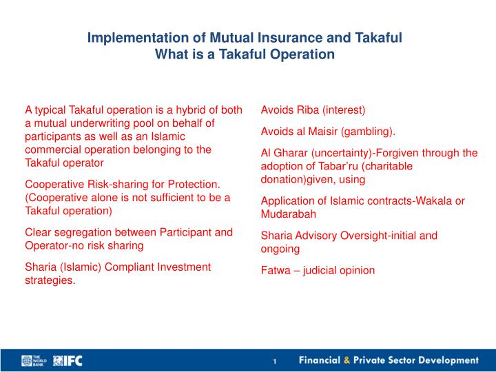 implementation of mutual insurance and t akaful what is a takaful operation n.
