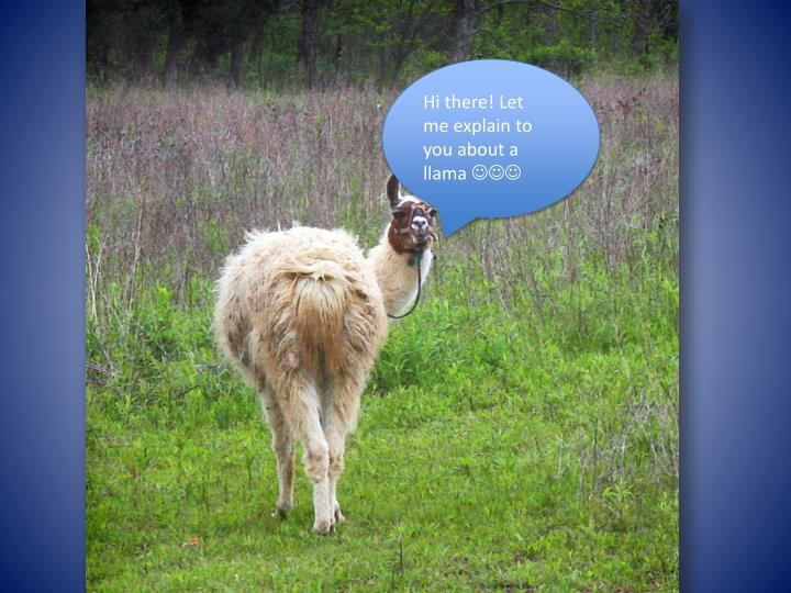 Hi there! Let me explain to you about a llama