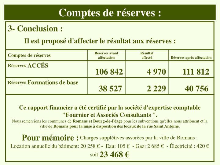 Comptes de réserves :