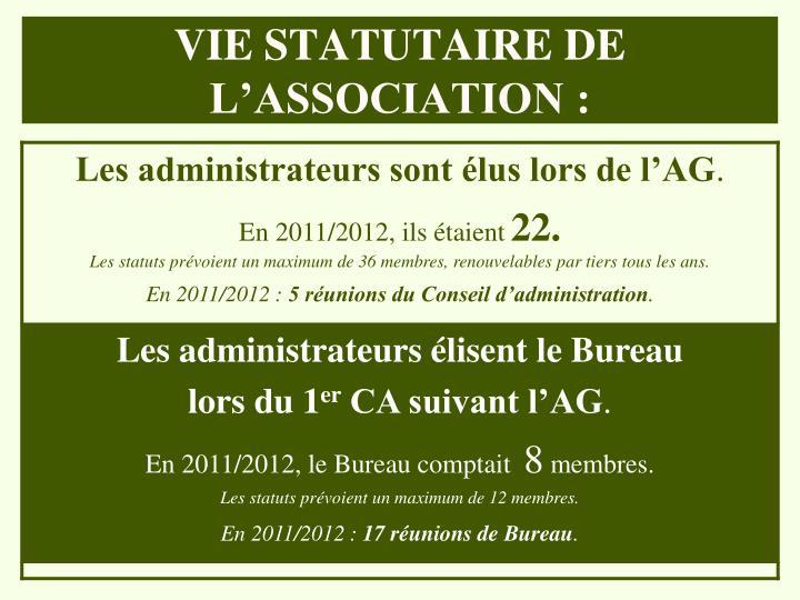 VIE STATUTAIRE DE L'ASSOCIATION :