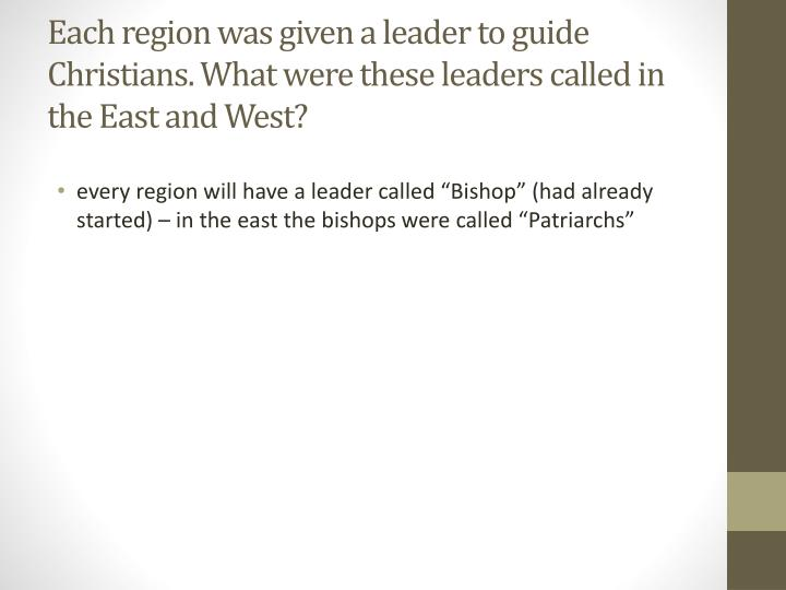 Each region was given a leader to guide Christians. What were these leaders called in the East and West?