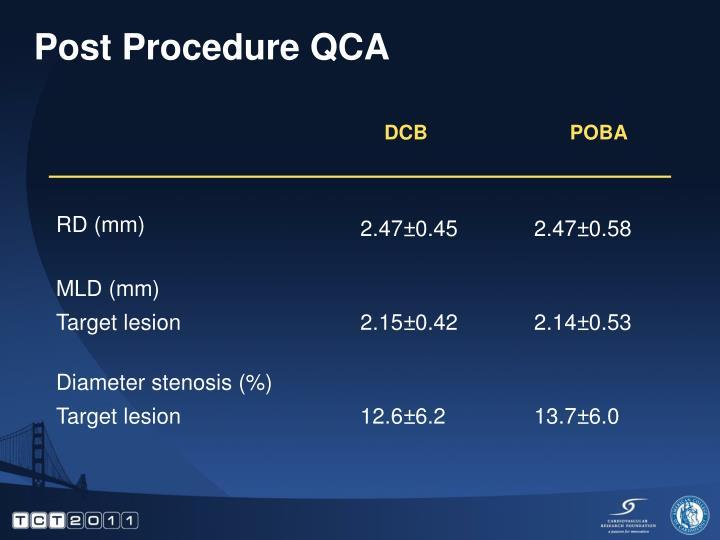 Post Procedure QCA