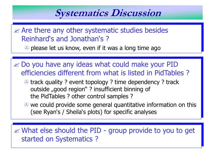 Systematics discussion