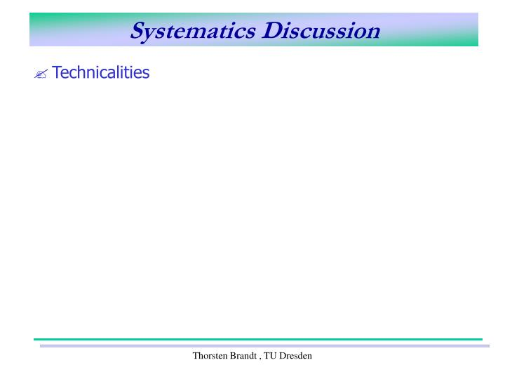 Systematics discussion1