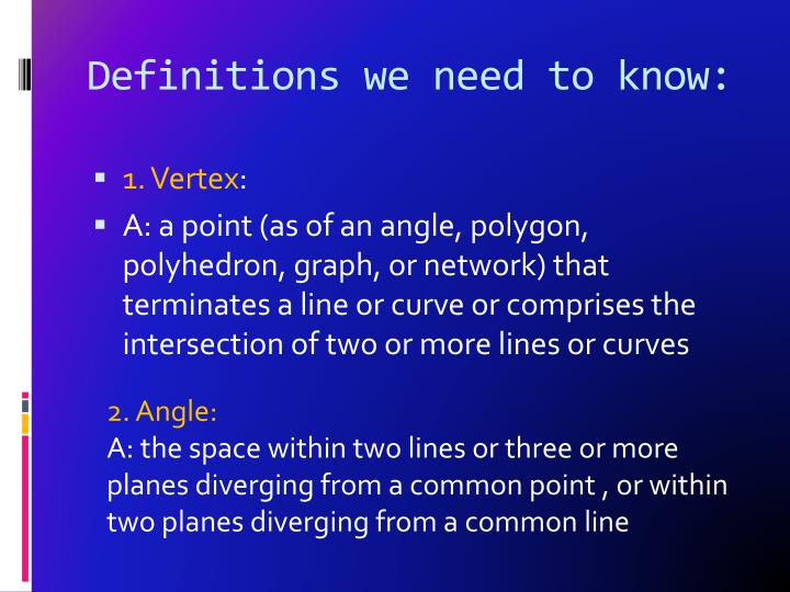 Definitions we need to know