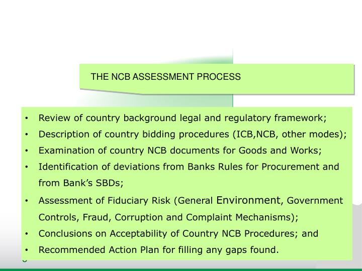 THE NCB ASSESSMENT PROCESS