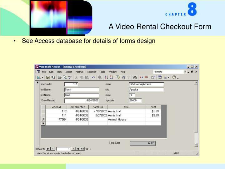 A Video Rental Checkout Form