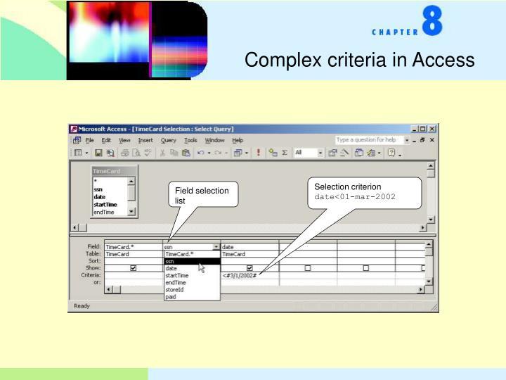 Complex criteria in Access