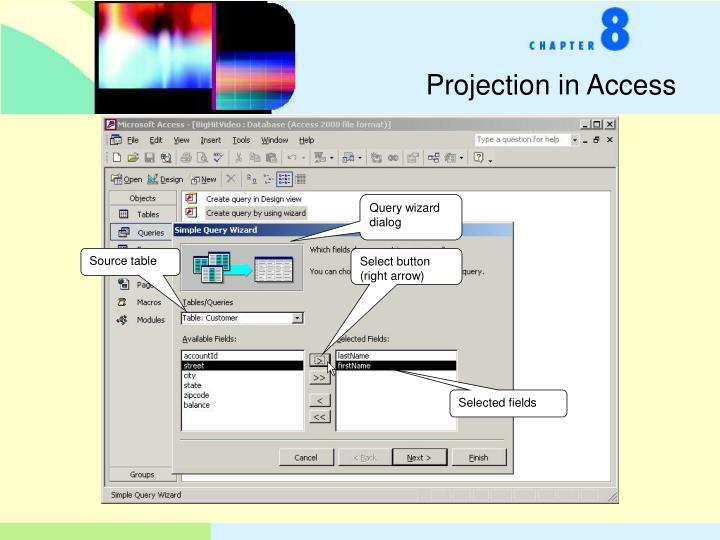 Projection in Access