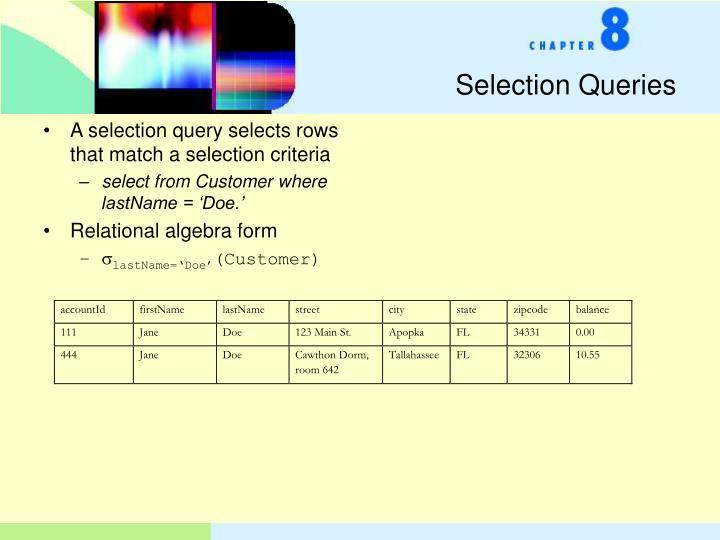 Selection Queries