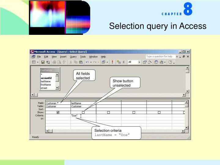 Selection query in Access