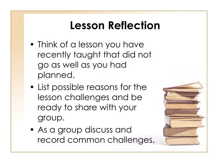 Lesson reflection