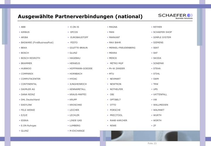 Ausgewählte Partnerverbindungen (national)