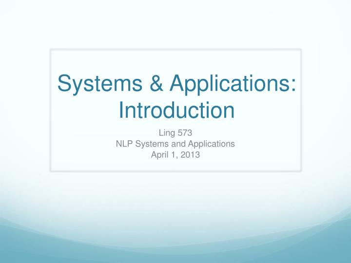 systems applications introduction n.
