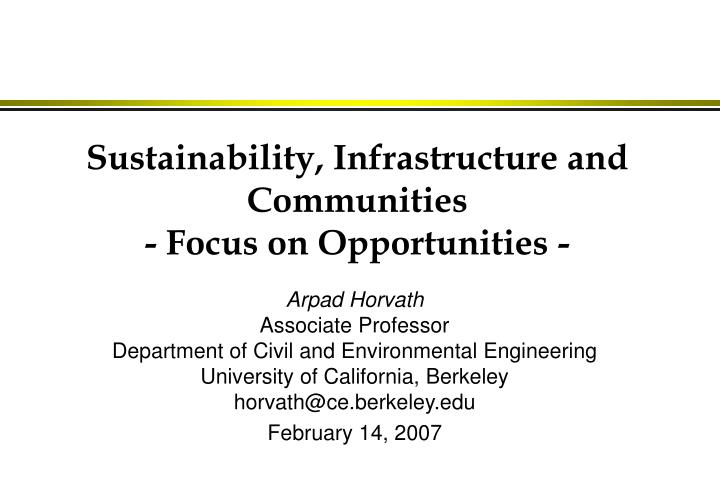 sustainability infrastructure and communities focus on opportunities n.