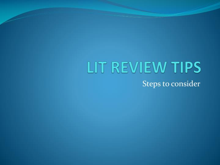 lit review tips n.
