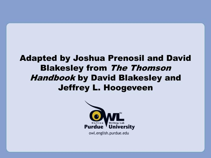 Adapted by Joshua Prenosil and David Blakesley from