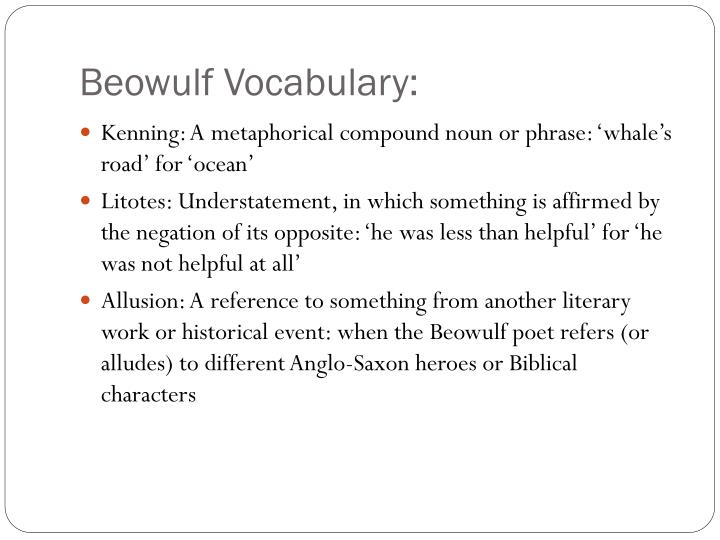 beowulf vocabulary n.