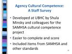 agency cultural competence a staff survey