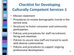 checklist for developing culturally competent services 1