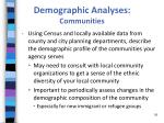 demographic analyses communities
