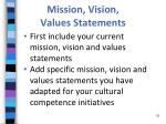 mission vision values statements