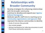 relationships with broader community