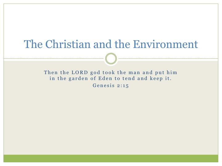the christian and the environment n.