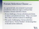 forum selection clause cont d