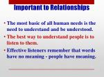 important to relationships