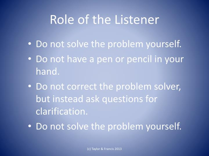 Role of the listener