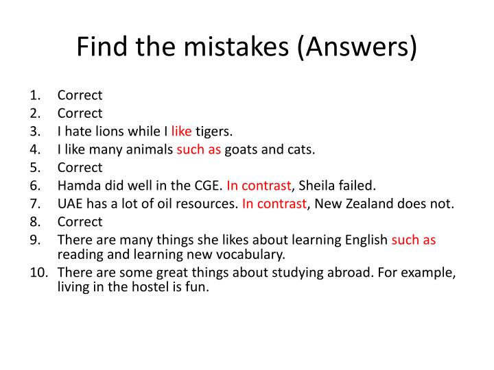 Find the mistakes (Answers)