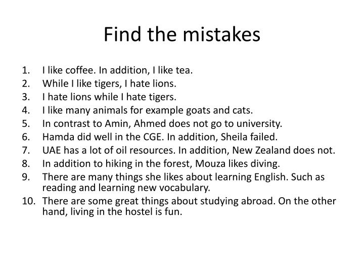 Find the mistakes