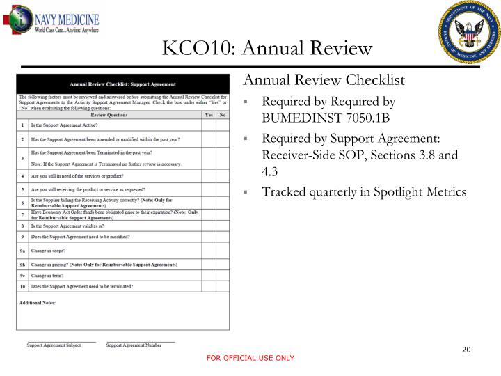 KCO10: Annual Review