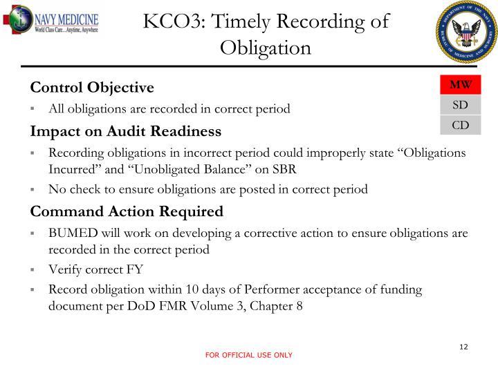 KCO3: Timely Recording of Obligation