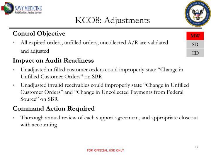 KCO8: Adjustments