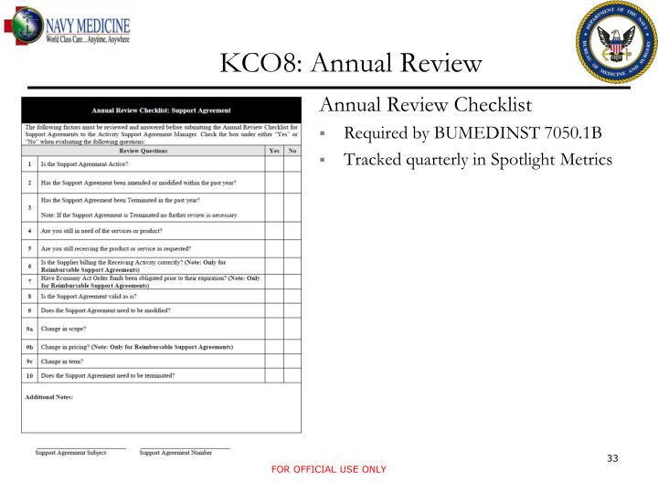 KCO8: Annual Review