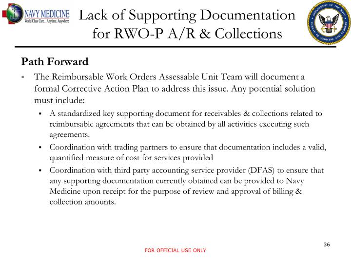 Lack of Supporting Documentation for RWO-P A/R & Collections