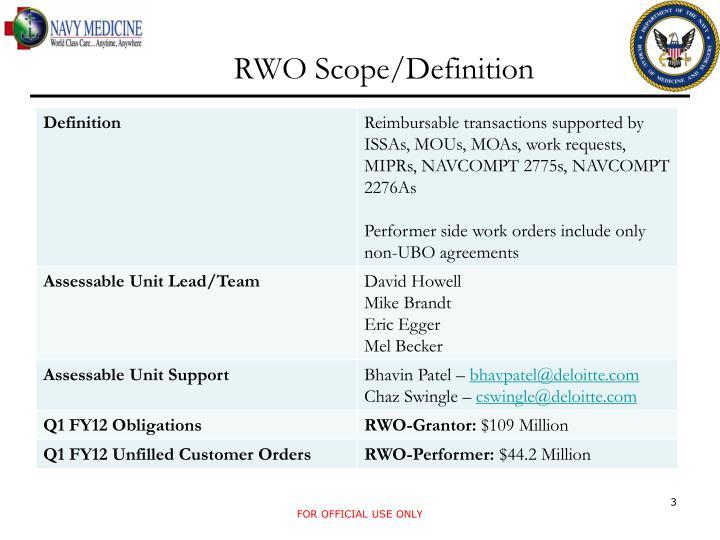 Rwo scope definition