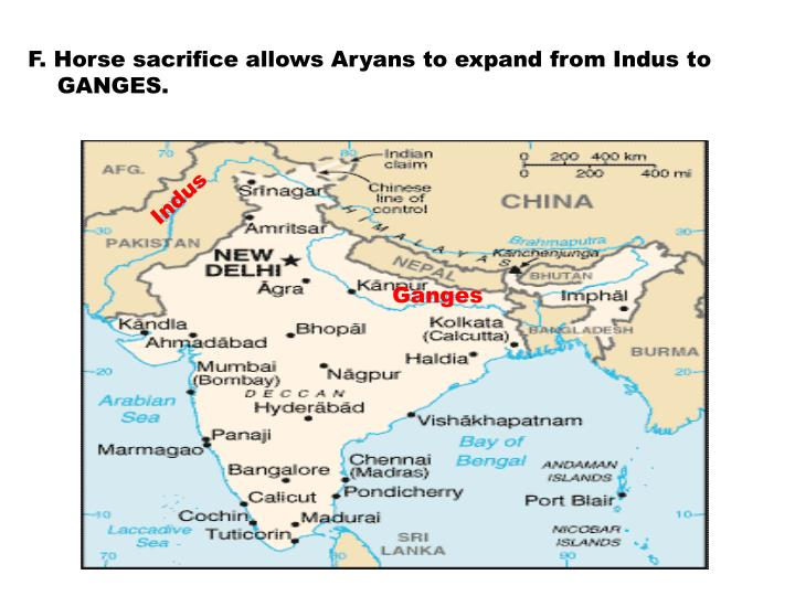 F. Horse sacrifice allows Aryans to expand from Indus to