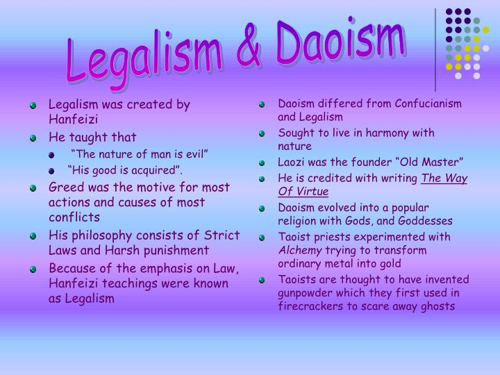 Legalism was created by Hanfeizi