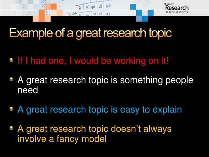 Example of a great research topic