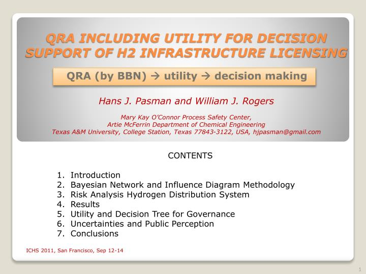 qra including utility for decision support of h2 infrastructure licensing n.