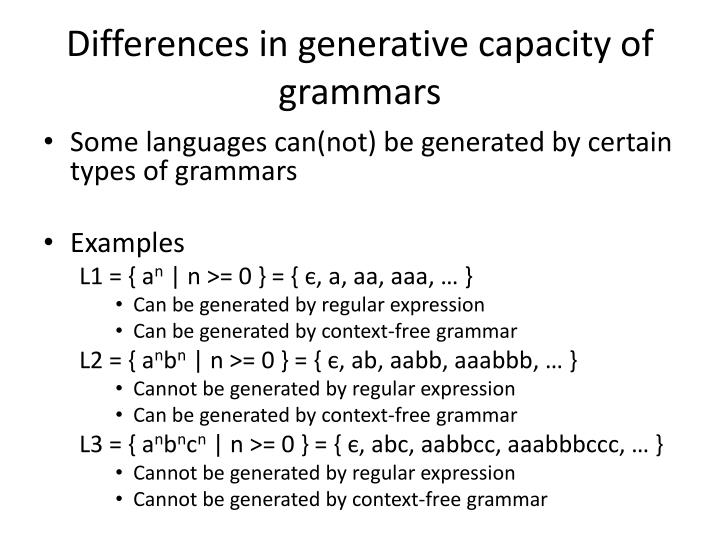 Differences in generative capacity of grammars