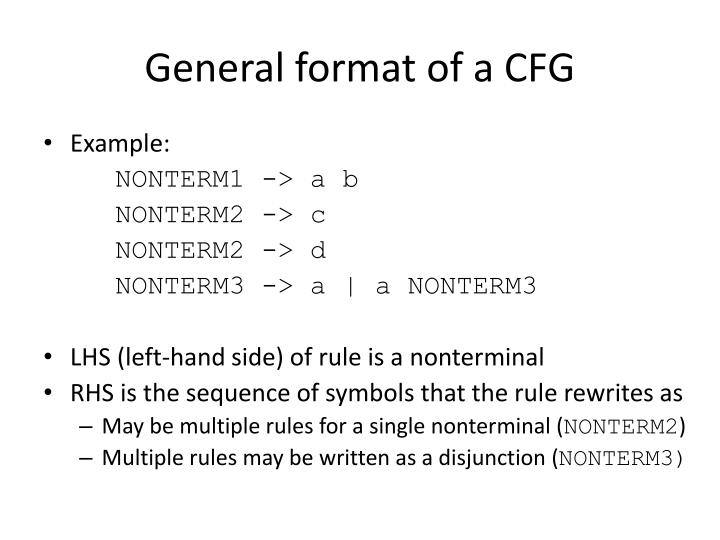 General format of a CFG