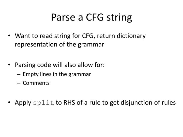 Parse a CFG string