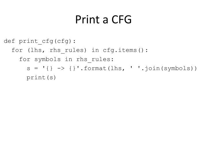 Print a CFG