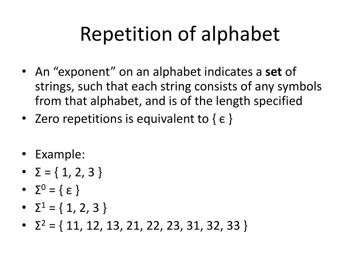 Repetition of alphabet
